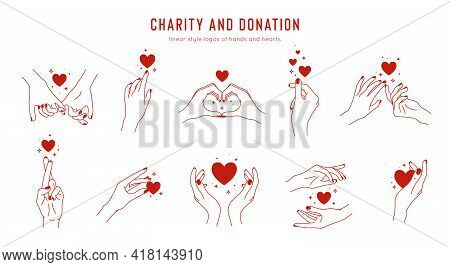 Vector Set Of Linear Holding Hands Gestures, Logo Design Template For Charity And Donation Concepts.