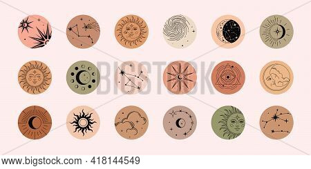 Vector Set Of Highlights With Moon, Sun, Clouds, Stars And Constellations. Mystical Magic Elements,