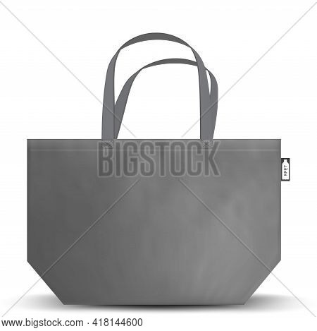 Black And White Tote Shopping Rpet Bags. Textile Tote Bag For Shopping Mockup. Vector Illustration I
