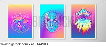 Retro Futurism Or New Age Style Flyer Set. Vector Futuristic Sacred Geometry Synth Wave Illustration