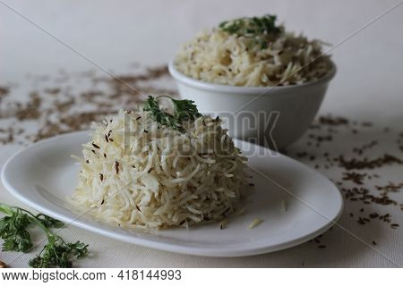 Indian Rice Dish Made Of Basmati Rice Flavoured With Cumin Seeds And Spices. Locally Known As Jeera