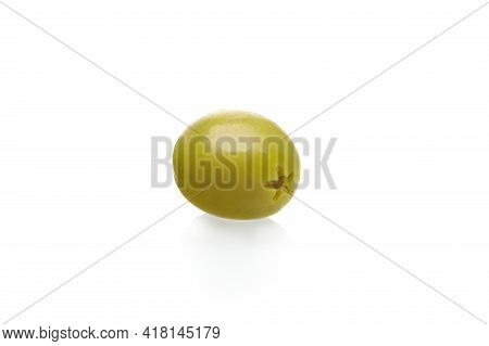 Green Pitted Olive Isolated On White Background. Healthy Food Concept.