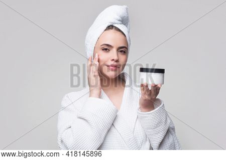 Beauty Face. Woman With Natural Healthy Skin Portrait. Beautiful Girl Model Touching Fresh Glowing H