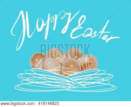Watercolor Painting Easter Eggs. Eggs Pattern, Illustration Of Boiled Stripes Coloured Eggs, Texture