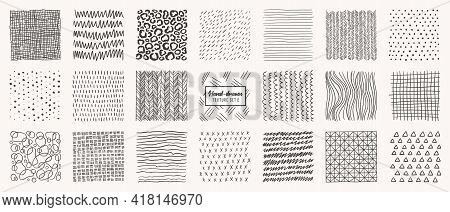 Set Of Hand Drawn Patterns Isolated. Vector Textures Made With Ink, Pencil, Brush. Geometric Doodle