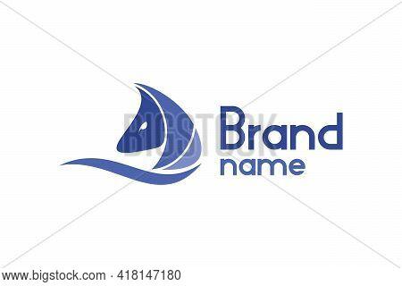 Sailing Horse Logo. Illustration Of A Sailing Logo With A Horse Head Design Concept. Modern Creative