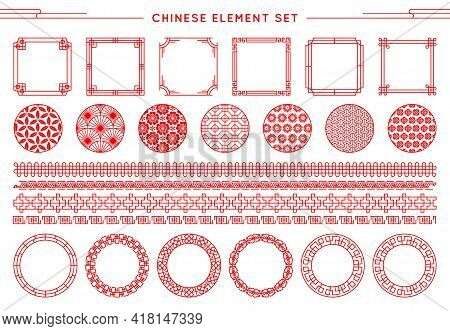 Chinese Vector Set Of Border, Frames, Patterns, Knots Isolated On White Background. Asian Red Elemen