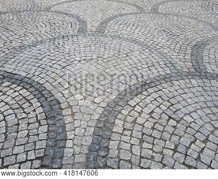 Decorative Sidewalk Folded From Granite Cobble Stone