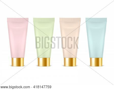 Vector 3d Realistic Plastic, Metal Pink, Green, Beige, Blue Tooth Paste, Cream Tube, Packing Set Iso