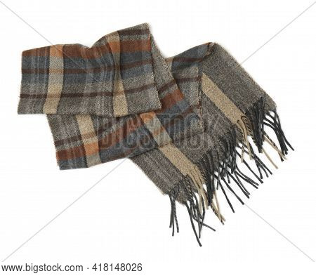 Stylish Checkered Cashmere Scarf Isolated On White, Top View