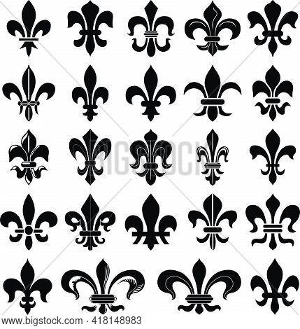 Fleur De Lys. Heraldry Lily Set . Vector Illustration