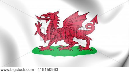 3d Flag Of Wales (1807-1953). 3d Illustration. Front View.