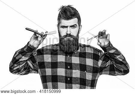 Barber Scissors And Straight Razor, Barber Shop. Mens Haircut, Shaving. Bearded Man, Long Beard, Bru