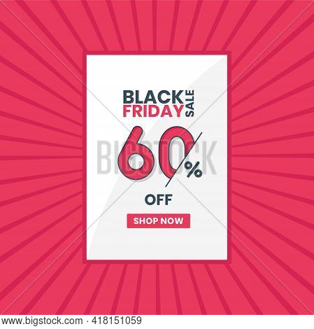 Black Friday Sales Banner 60% Off. Black Friday Promotion 60% Discount Offer