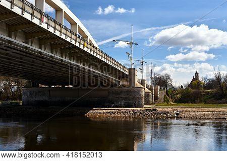 A Steel Road Bridge Over The Warta River In Poznan