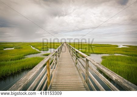 Bridge in marsh waterway on Cape Cod, Massachusetts