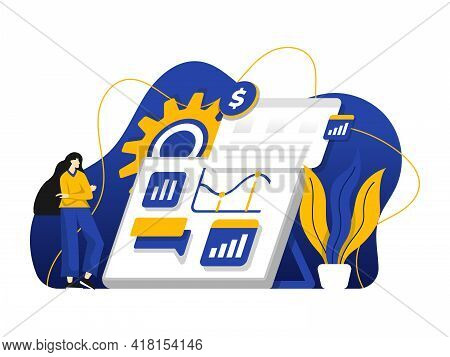 Modern Flat Design Illustration Of Marketing Investment, Management Of Resources, Business Strategy.