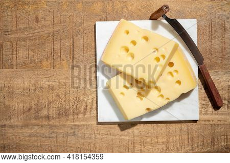 Cheese Collection, Blocks Of French Emmentaler Cheese With Many Round Holes Made From Cow Milk