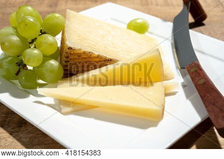 Cheese Collection, Piece Of Spanisch Hard Manchego Cheese Made In La Mancha Region From Sheep Milk W