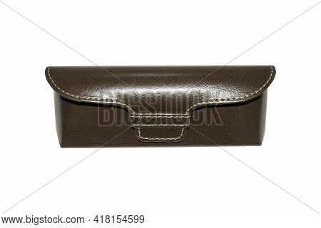 Leather Hard Case For Glasses On A White Background.the Case For Glasses Is Leather With A Magnetic