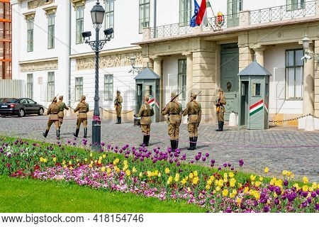Budapest, Hungary - May 2019: Soldiers Guarding Residence Of President Of Hungary