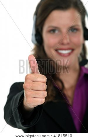 Call centre agent giving the thumb's up