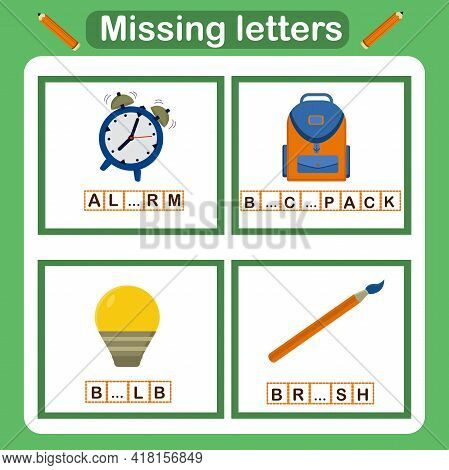 Vector Illustration For Kids With The Game Missing Letters. Educational Page For Children, Classes O