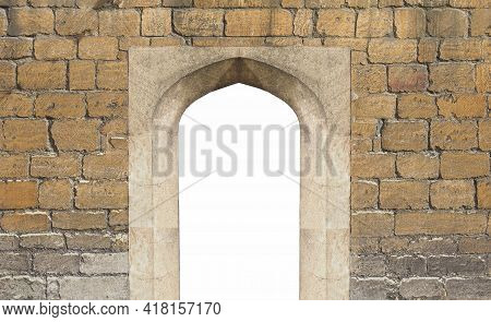 Ancient Portal Gateway In Old Stone Wall, With Blank Copy Space