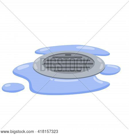 Drain In Plumbing. Grid On Floor. Element Of Water Supply System. Blue Puddle And Drops Of Water. Ba
