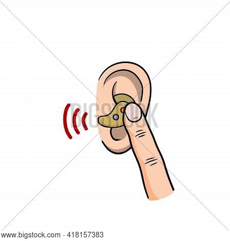 Bluetooth In Ear. Mobile Device For Hand-free Technology. Conversation With The Support Service. Fin