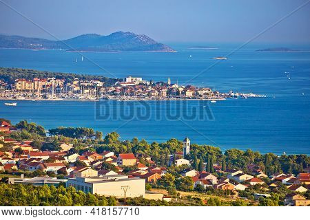 Biograd Na Moru And Sveti Filip I Jakov Waterfront Panoramic View, Towns In Dalmatia Region Of Croat