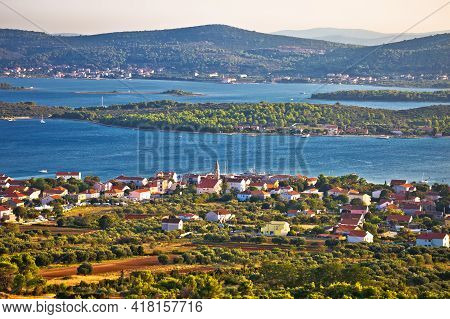 Turanj Village And Pasman Island Archipelago Panoramic View, Dalmatia Region Of Croatia