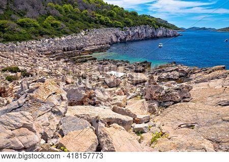 Telascica Nature Park On Dugi Otok Island Stone Beach View, Kornati Archipelago Of Croatia