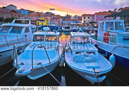 Fishermen Village Of Sali On Dugi Otok Island Evening View, Dalmatia Archipelago Of Croatia