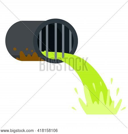 Pipe With Green Water. Drainage System. Industrial Drain. Flat Cartoon Illustration Isolated On Whit