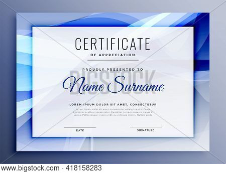 Abstract Certificate Of Recognition Template Design Vector Illustration