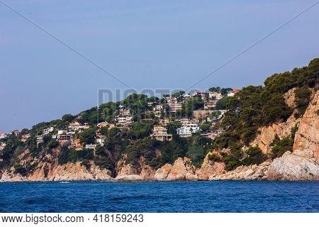 Lloret De Mar, Spain, May 1, 2020 - Private Villas On High Costa Brava Rocky Coast. Modern Mediterra