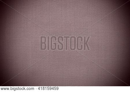 Texture Of Natural Red Or Burgundy Fabric Close-up. The Texture Of The Fabric Is Made Of Natural Cot
