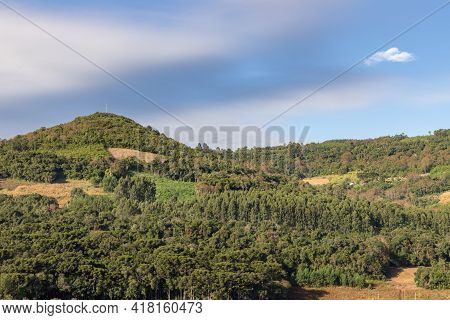 Farm Fields, Forest And Mountains