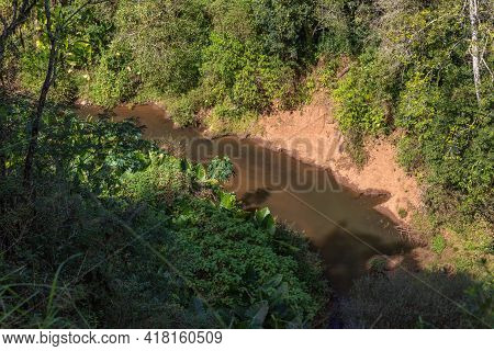 Aerial View Of Arroio Feitoria River And Forest
