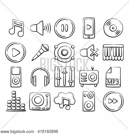 Vector Beautiful Music Icon Set. Music Icon Isolated On White Background. Musical Icon Simple Sign.