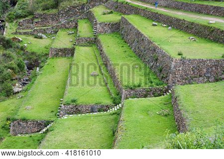 Terraced Fields In The Inca Archeological Area Of Pisac, Peru. Pisac Is Located On The Long Crest Of