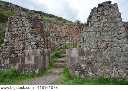 Inca Settlement, Pisac, Peru. Inca Archeological Area Of Pisac, Peru. Pisac Is Located On The Long C