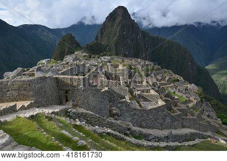 The Classic Shot Of Machu Picchu. Machu Picchu  - The Lost City Of The Incas, Peru. View From Guardh