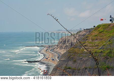 Coastline In  Miraflores In Lima, Peru. Coastline In Suburb Miraflores Of Lima - Capital Of Peru.