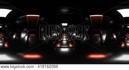 Full 360 Panorama View Of Sci-fi Design Futuristic Design Space Station Basement Hallway 3d Render I