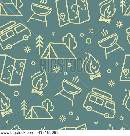 Elements Of Camping, Family Tourism. A Camping Tent, A Burning Campfire, A Map, A Barbecue, And A Va