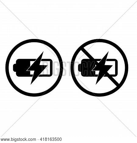 Battery Charge And No Battery Charge On White Background. Battery Charge Level Sign. No Flash Symbol