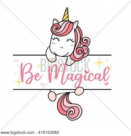Cute Pink Unicorn Hang On Name Frame, Girl Kid Monogram Template