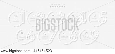 Vector Elegant Simple Refined Style Infographic Design Ui Template 9 Number Labels And Icons. Ideal